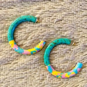 Lele Sadoughi Medium Broadway Hoops in Turquoise
